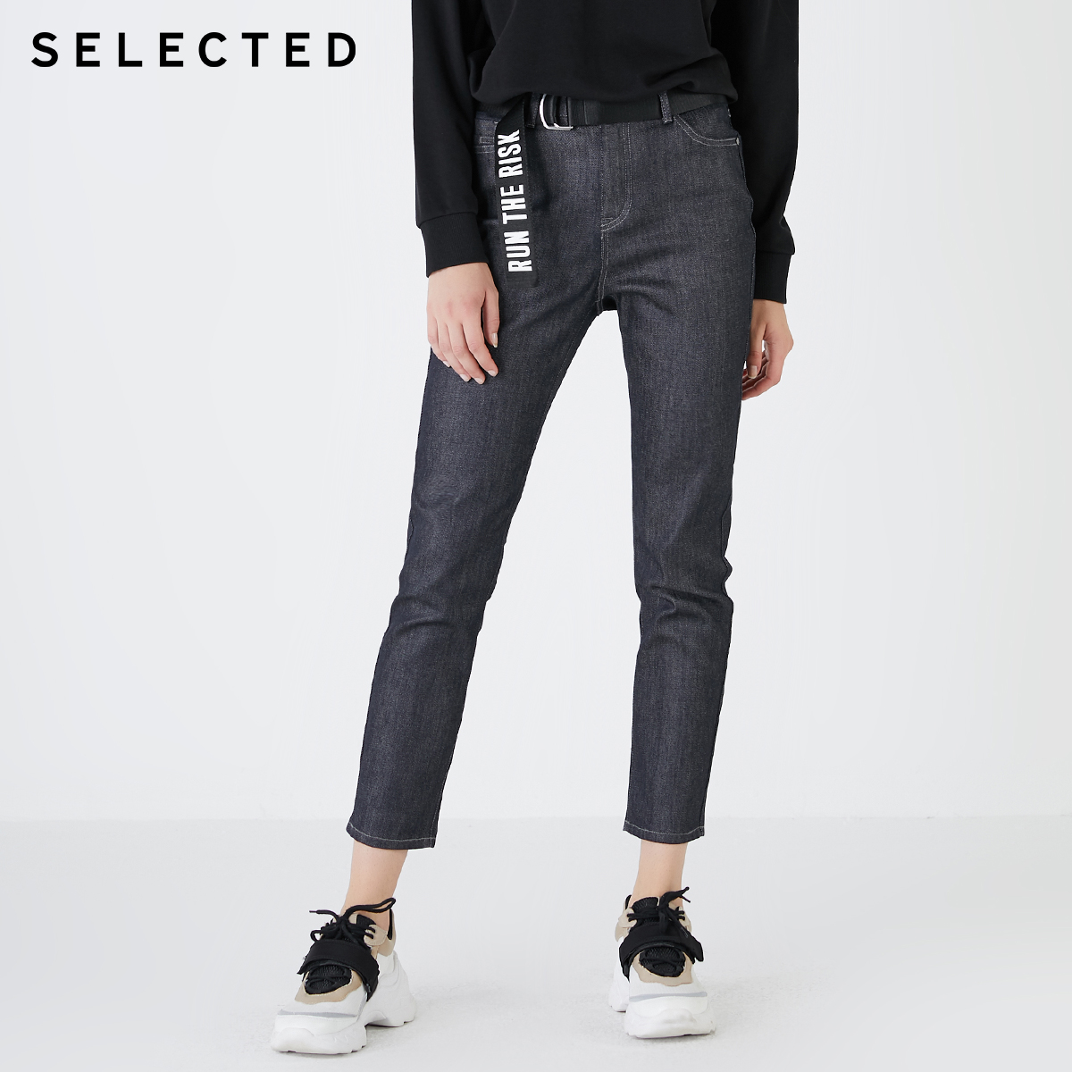 SELECTED Women's Slightly Stretch Straight Slim Fit High-rise Jeans R|419432506