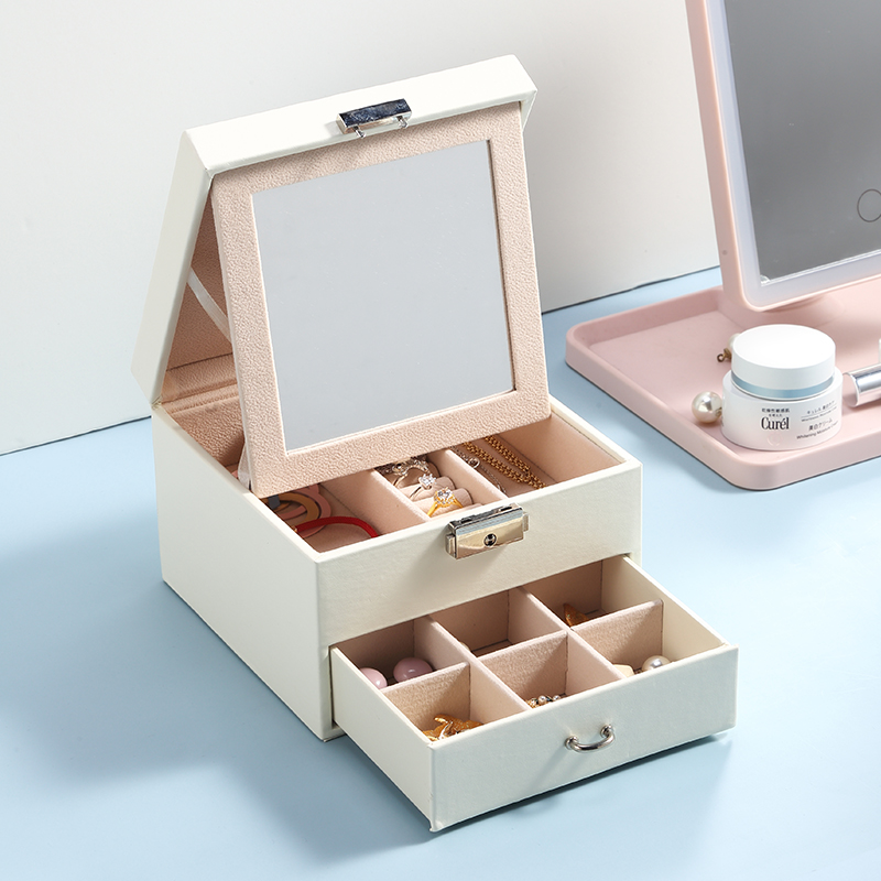 Casegrace Leather Jewelry Box Organizer Multi Section Classic Holder With Modern Drawer Lock Large Mirror for