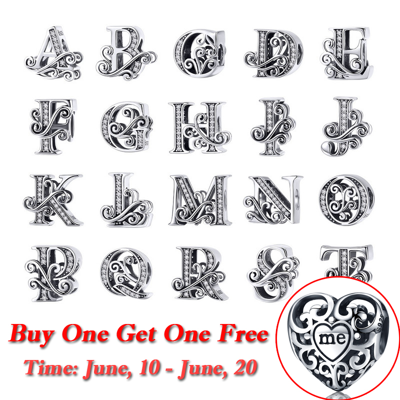 BAMOER 2019 NEW 925 Sterling Silver Vintage A to Z Clear CZ 26 Letter Alphabet Bead Charms Fit Bracelets DIY Jewelry BSC030 beads charms charm beadsbracelet charms beads - AliExpress