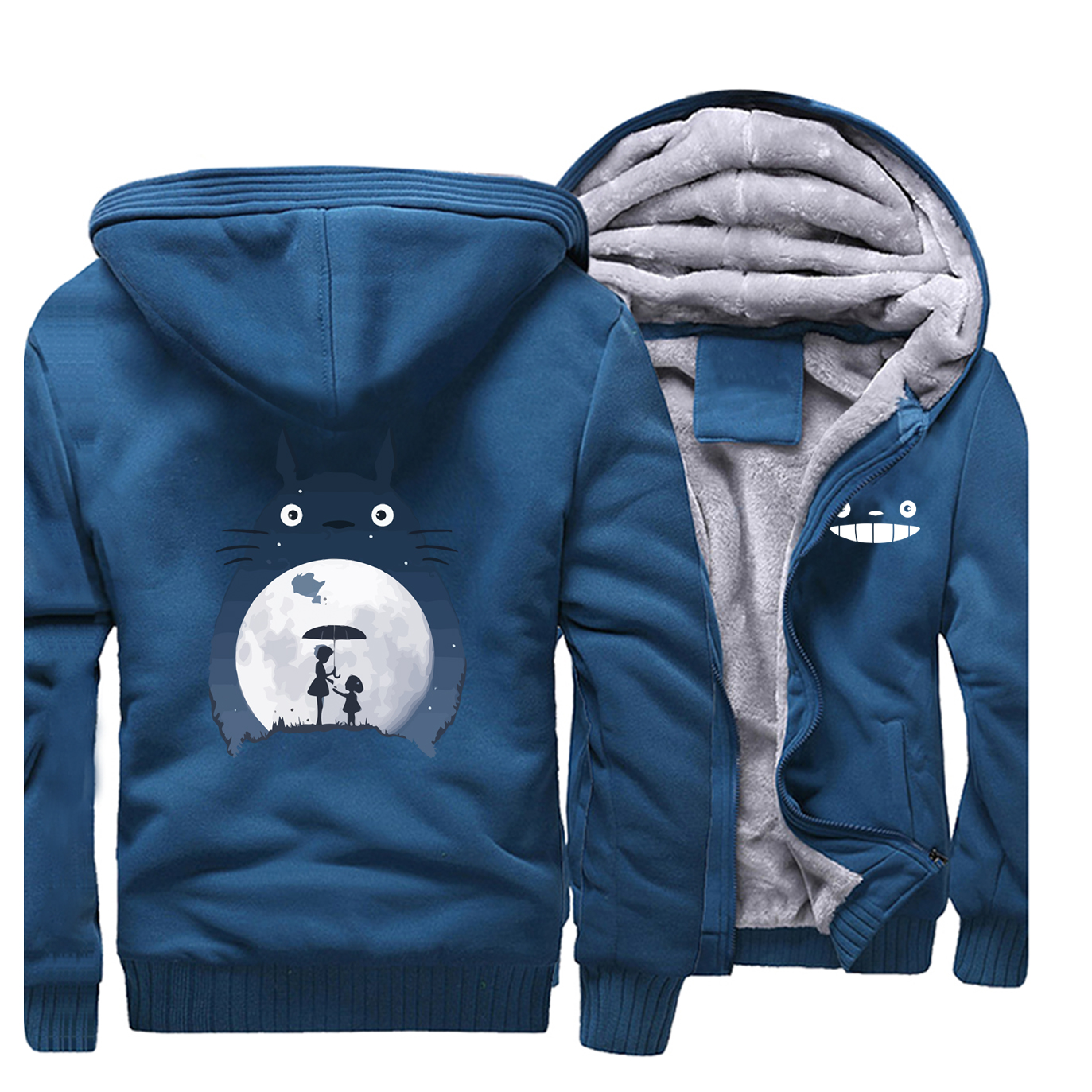 Tonari No Totoro Men Thick Fleece Hoodies Sweatshirts Brand Warm Hoodie Zip Coat Vintage Anime Jacket Winter Japanese Streetwear