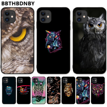 Dier Uil Cartoon Black Case Tpu Coque Shell Telefoon Case Voor Iphone 5 5S Se 5C 6 6S 7 8 plus X Xs Xr 11 Pro Max(China)