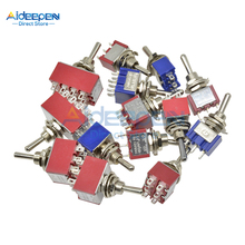 MTS-102/103/202/203/302/303/402/403/123/223 Mini Toggle Switch 125V/6A 250V/3A 3/6/12 Pin 2/3 Position Copper/Silver Contact