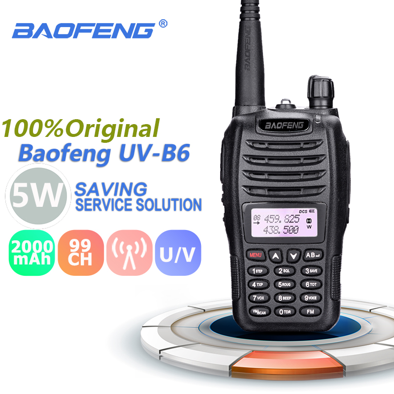 Baofeng UV-B6 Walkie Talkie 5w 2000mAh UHF & VHF Cb Radio Range UV B6 Digital Amateur UVB6 Radio Stations Transceiver Retevis
