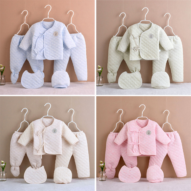 5Pcs/set Newborn Baby Cotton Clothes Set Infant Baby Girls Boys Warm Thickening Underwear Suit Toddler Outfit for New Born Gifts 1