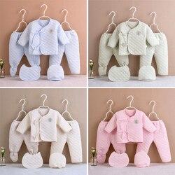 5 шт./компл. новорожденных хлопковый комплект одежды для маленьких девочек и мальчиков, теплый утолщение нижнее бельё для девочек, костюм, на...