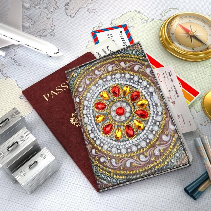 DIY Special Shaped Diamond Painting Travel Leather Passport Protector Cover Gift