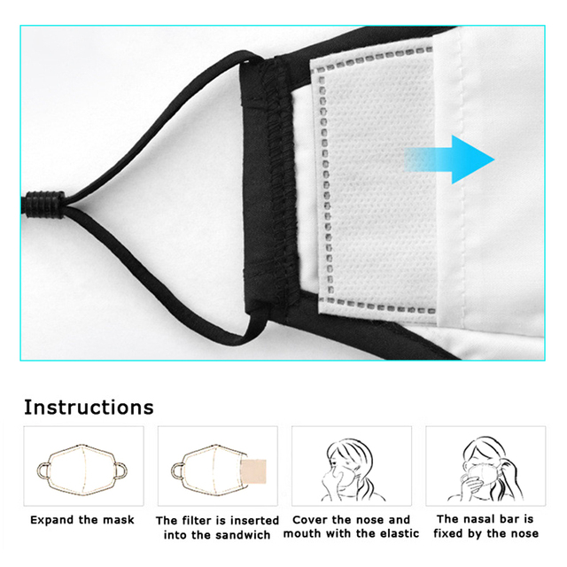100 PCS 5 Layers PM2.5 Activated Carbon Filter Insert Protective Filter Media Insert for mouth Mask anti dust masks filter 5