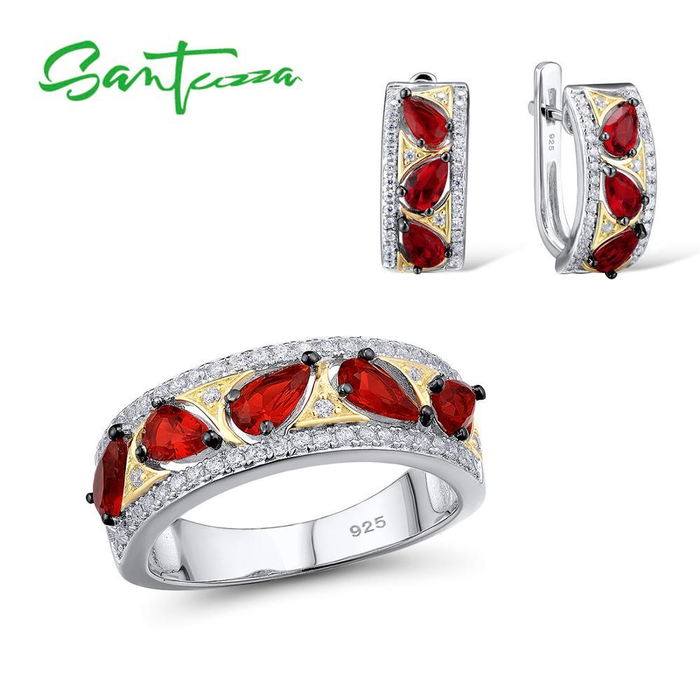 SANTUZZA Silver Jewelry Set Bridal Wedding Jewelry Set Red CZ Stones Ring Earrings Set 925 Sterling