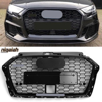 Car Front Bumper Grill with ACC Hole for Audi A3 S3 8V 2017 2018 2019 Front Face Grille RS3 Look Mesh with Black & Silver Emblem