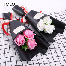 3 Pcs Soap Flowers Rose Carnation Bouquet Mother's Day Gifts Valentine's Day Gift For Girlfriend Artificial Flower Small Gifts