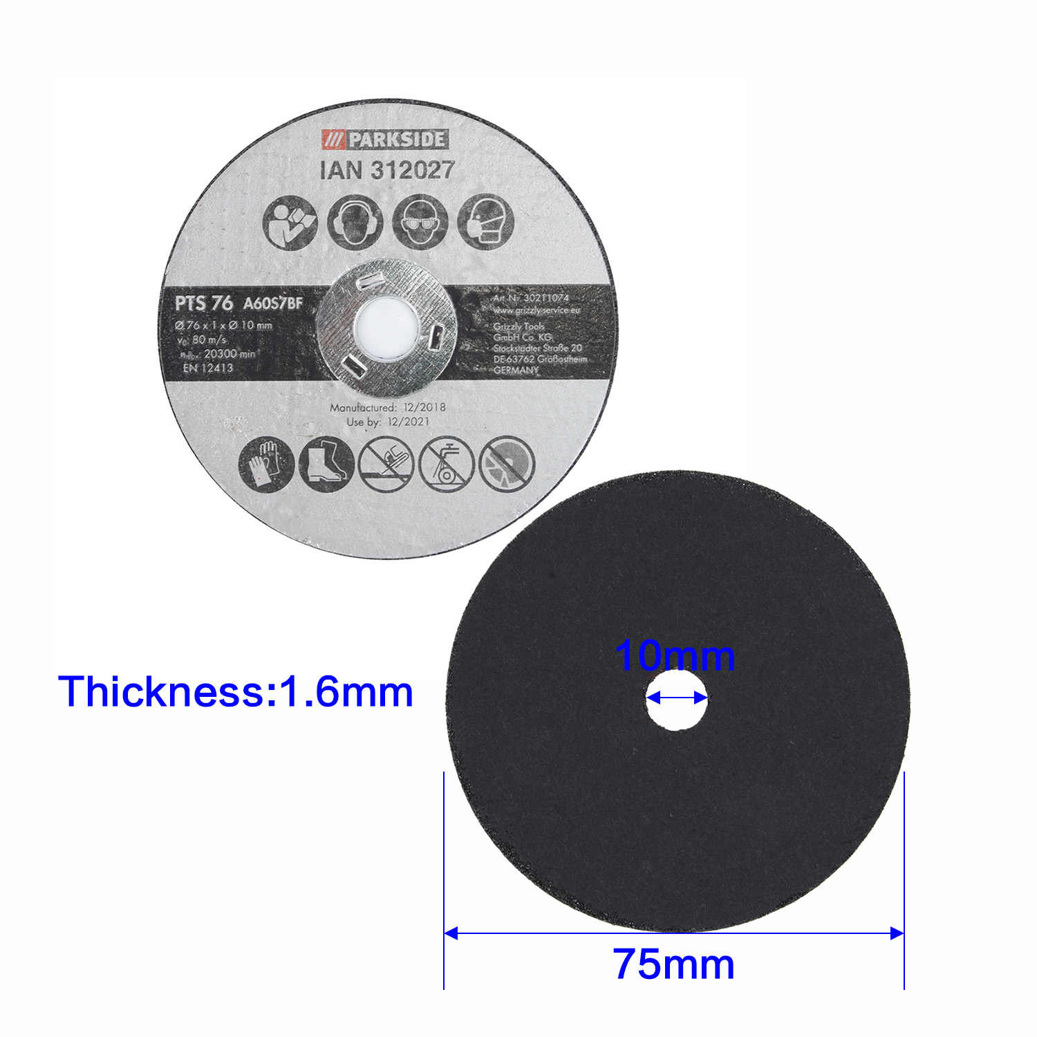 20Pcs Fiber Resin Cutting Disc Wood Cut Off Wheel Blade 10mm Hole Cutter 1.6mm Thickness 3 Inch 75mm Resin Cutting Disc