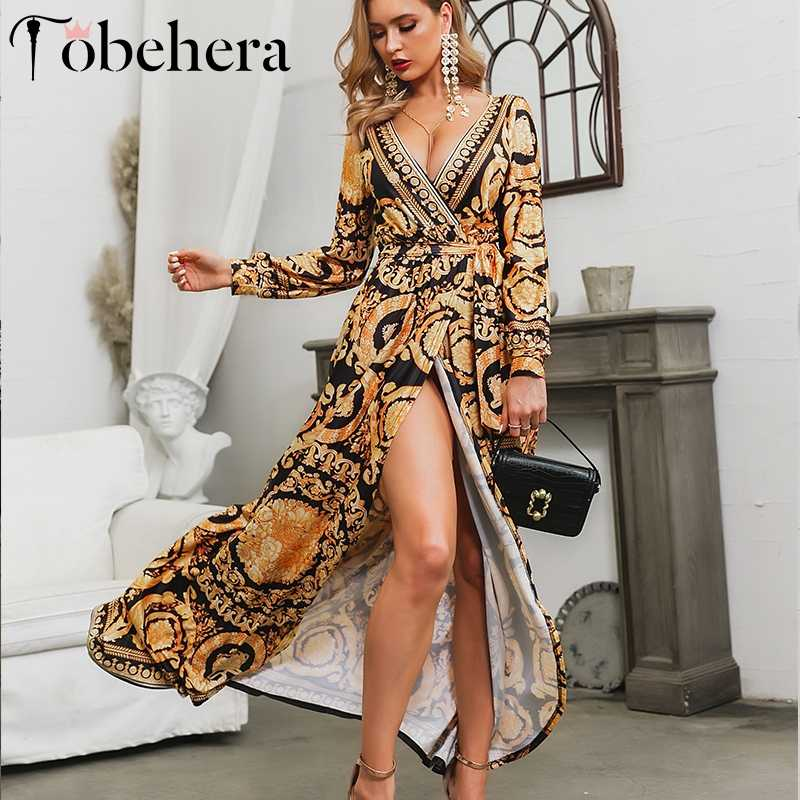Glamaker винтажное осеннее платье с разрезом, бохо, сексуальное платье с принтом, женское элегантное макси платье, летнее уличное платье, длинное вечернее платье, femme festa