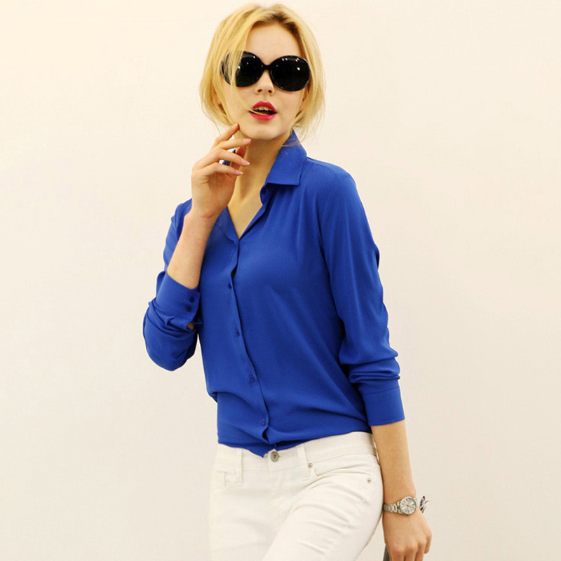 2020 new Women Clothing Blouses Direct Selling Button Solid Autumn New Long-sleeve Shirt Female Chiffon Women's Slim Clothing
