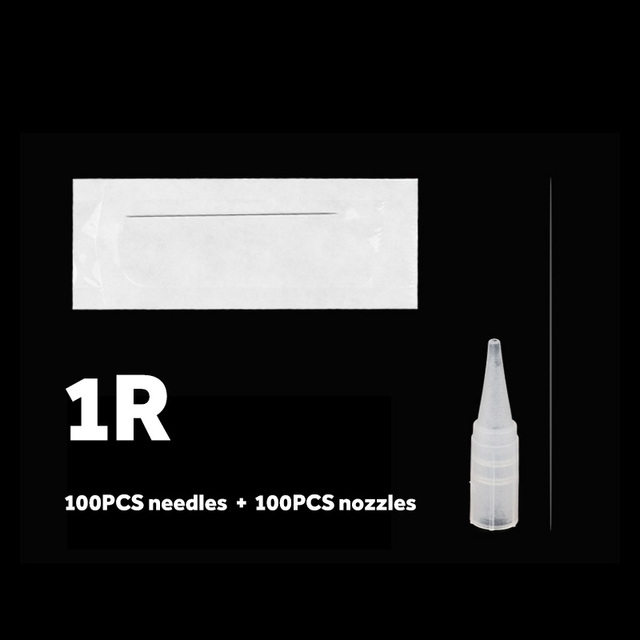 200PCS 1R 3R 5R 5F 7F PMU Needles and Needle Tips Disposable Sterilized Professional Tattoo needles for Permanent Makeup Eyebrow