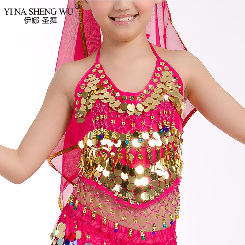Girls Bellydance Oriental Costumes Top Bra Children Belly Dance Costume Top 2 Style Gril <font><b>Indian</b></font> <font><b>Sari</b></font> Clothing bollywood For <font><b>Kids</b></font> image