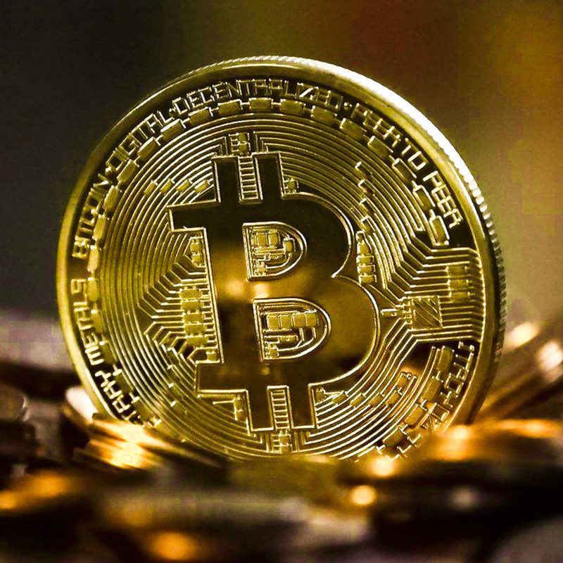 2019 Gold Plated Bitcoin Coin Collectible Art Collection Gift Physical commemorative Casascius Bit BTC Metal Antique Imitation