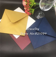 30pcs 16*16cm gold/ivory/blue/pink Square wedding invitation cards Colorful envelopes handkerchief invitation univeral envelope(China)