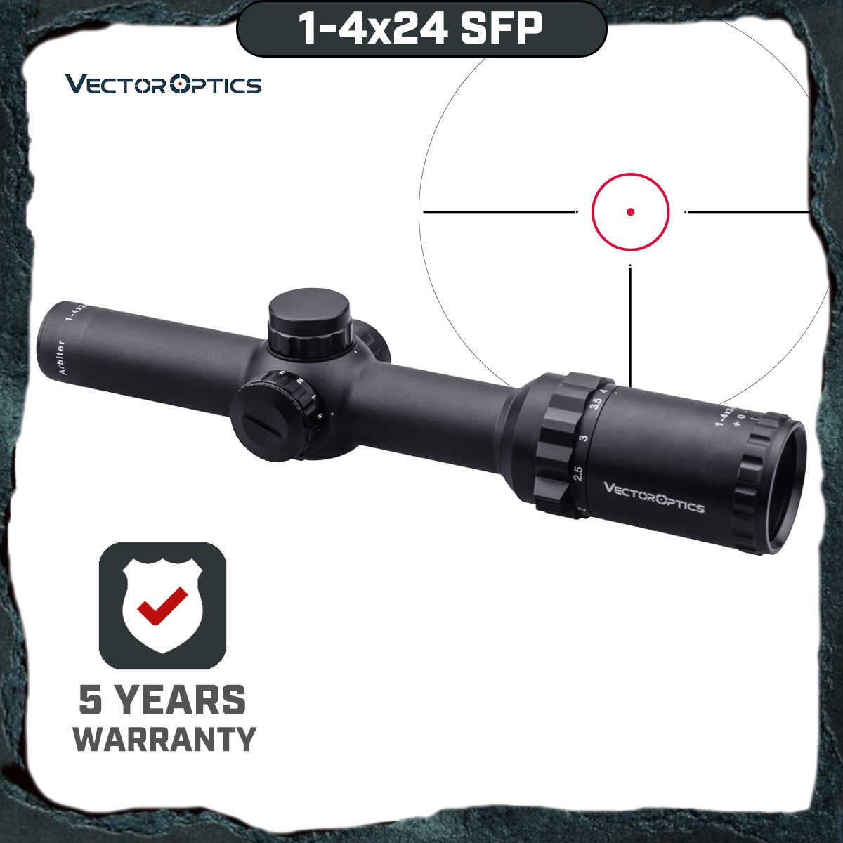Vector Optics Arbiter 1-4x24 SFP Jacht Riflescope Illuminated Red Dot Sight Voor Zware Terugslag. 308 30-06 cal. Rifles & Airguns