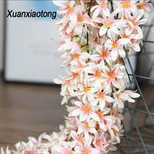 Xuanxiaotong 200cm Artificial Wisteria Flower Vine Silk Hydrangea Rattan Wedding Birthday Party Decoration Wall Backdrop Flowers