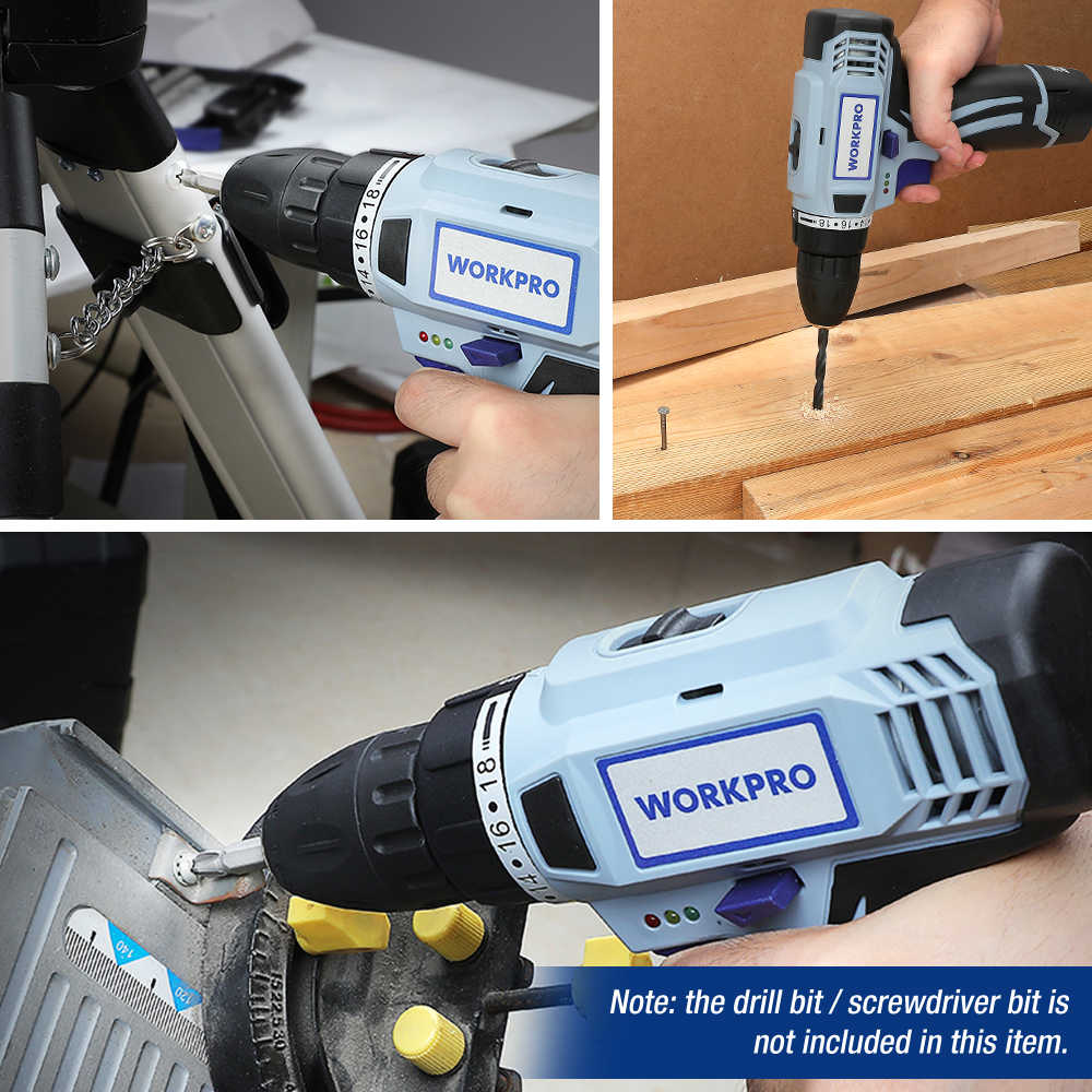 WORKPRO 12V Cordless Drill Obeng Listrik Mini Nirkabel Power Driver DC Baterai Lithium-Ion 3/8-Inch 2-Kecepatan