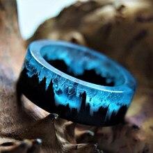 Anéis de resina azul para homens e mulheres, anel de resina de madeira e punk para paisagem, cenário natural, resina epóxi
