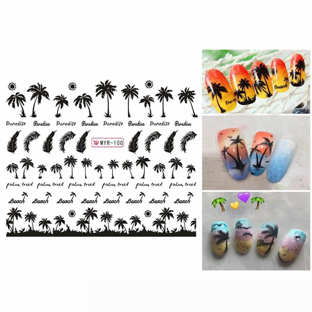 Maniküre Palm Ozean Wind Tropical Surf Strand Kokosnüsse Baum Stil Nagel Aufkleber Schwarz DIY Schönheit Dekoration Werkzeug Teile