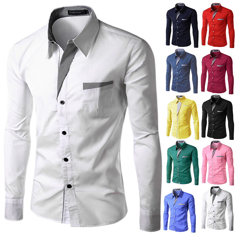 TUNEVUSE Mens shirts Camisa Masculina Long Sleeve Shirt Men Korean Slim Design Formal Casual Male Dress Shirt Size M-4XL 8012