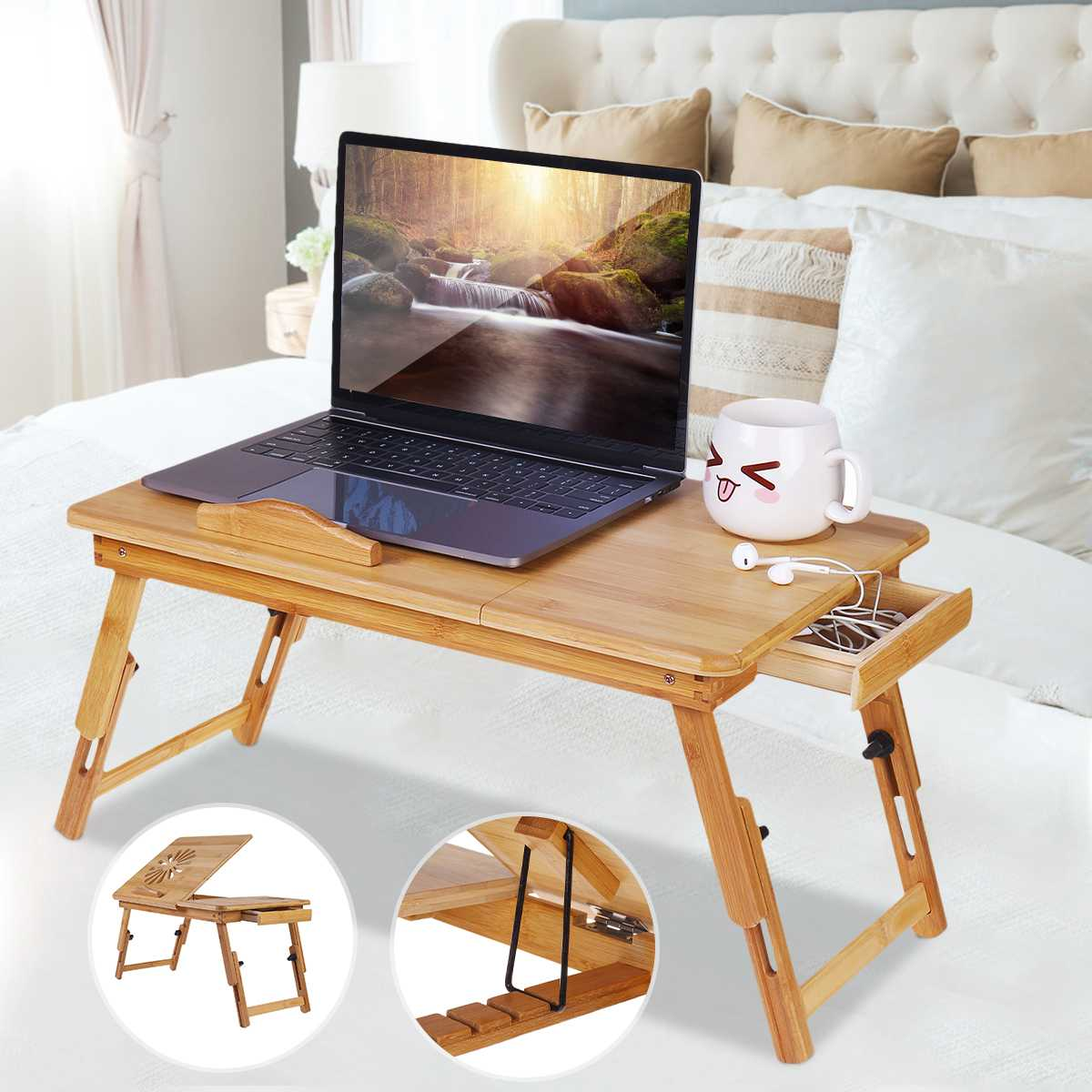 Portable Bamboo Folding Laptop Desk Notebook Table Adjustable Breakfast Serving Tray Bed Table With Drawer Working In Bed Sofa