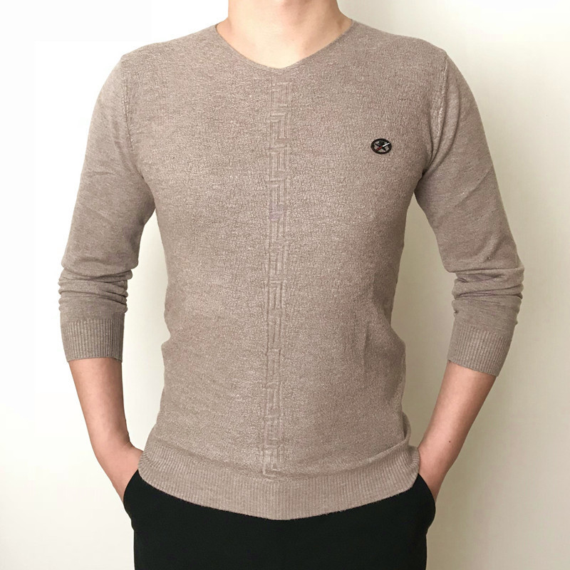 Winter Sweater Men 2020 Bottom Warm Pullovers V Neck Sweaters Slim Fit Mens Clothing Casual Tops Male Pullover 07LW879