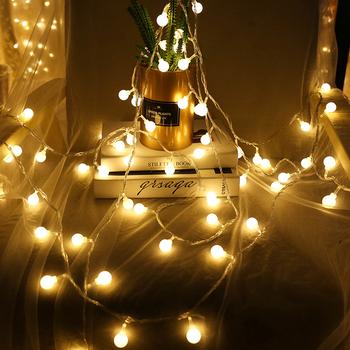 Wróżka wianek 10m 20m 30m 50m girlanda z żarówkami LED w kształcie kulek wodoodporny zewnętrzny LED łańcuch żarówka na ślub impreza boże narodzenie ogród tanie i dobre opinie ZIHADA Wtyczka UE 220 v Koraliki