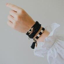 Xuxi многослойный Кристальный браслет с кисточками Японский