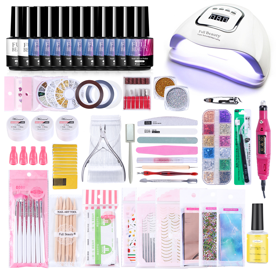 Nail Set With UV LED Lamp 90W Gel Nail Polish Kit Nail Starry Sky Foil Gold Flakes 3D Gems Nail Art Alloy Manicure Tools JI1582