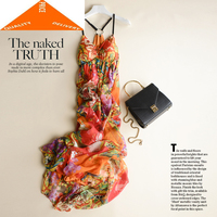 Dress Summer Boho Women 100% Real Silk Elegant Sexy Strapless Beach Evening Party Dresses Maxi Vestidos Ropa Mujer W2825