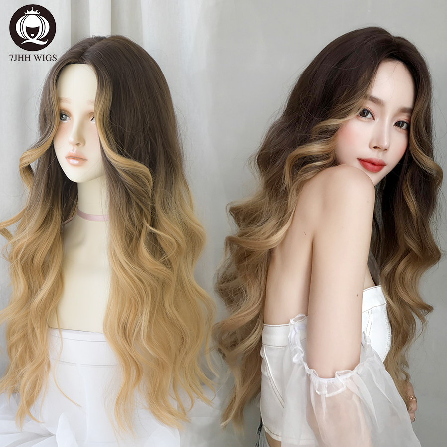 7JHH WIGS Blonde Long Straight Wig For Women Deep Wave Omber Brown Ash Hair Middle Part Heat Resistant Wavy Cosplay Wig For Girl
