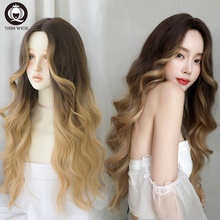 7JHH WIGS Blonde Long Straight Wig For Women Deep Wave Omber
