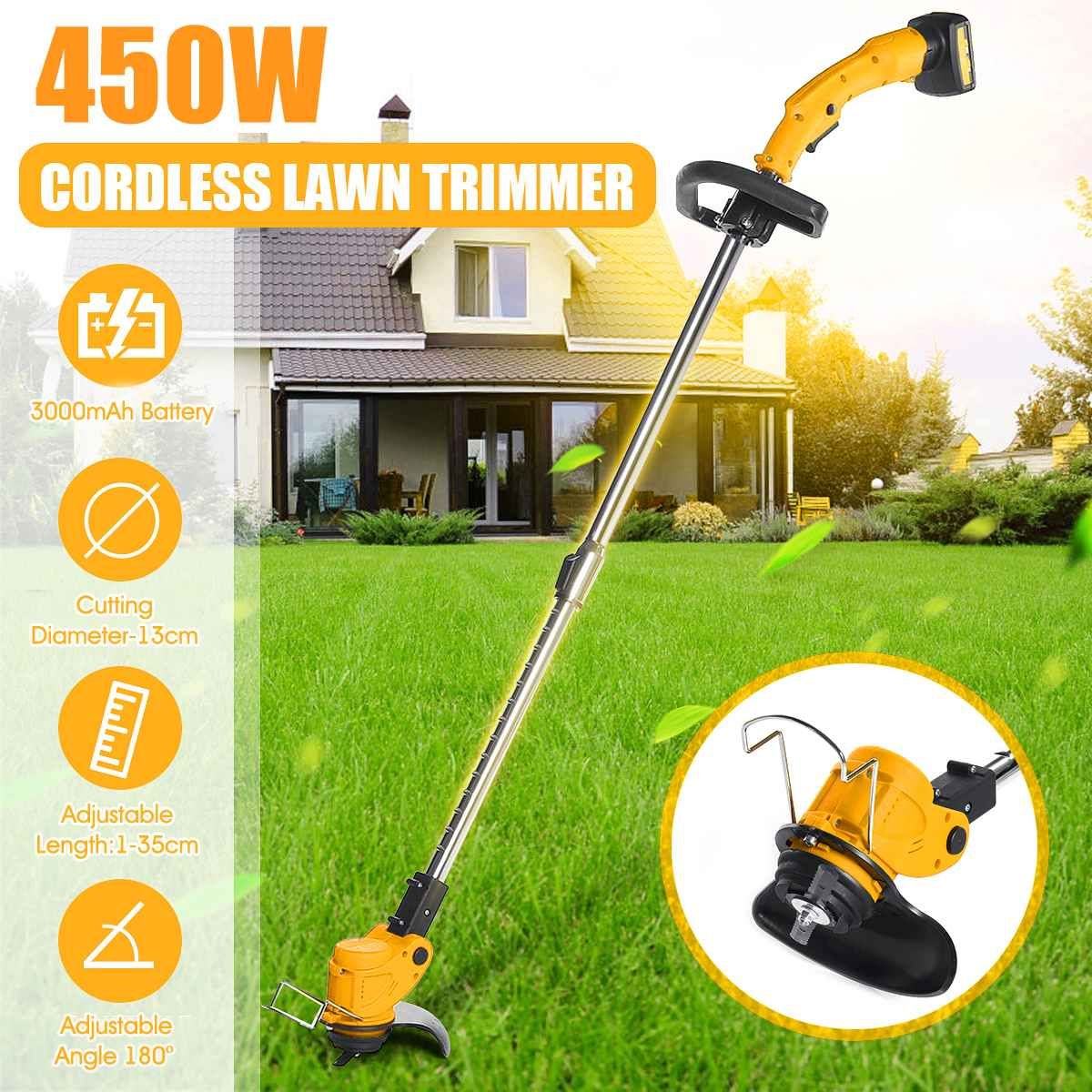 450W Garden Tools Brush Cutter Cordless String Lawn Electric Grass Trimmer Lawn Mower 26V With 2000mAh Lithium-ion Battery