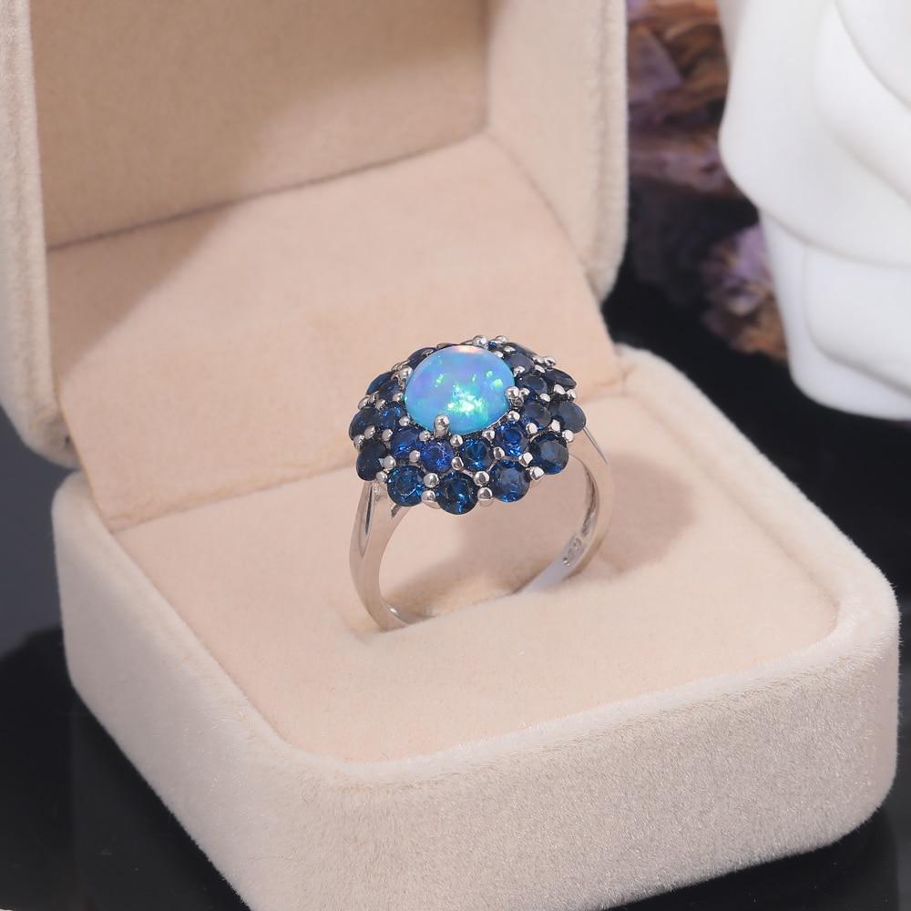 CiNily Oluşturulan Mavi Ateş Opal Mavi Zirkon Gümüş Kaplama - Kostüm mücevherat - Fotoğraf 4