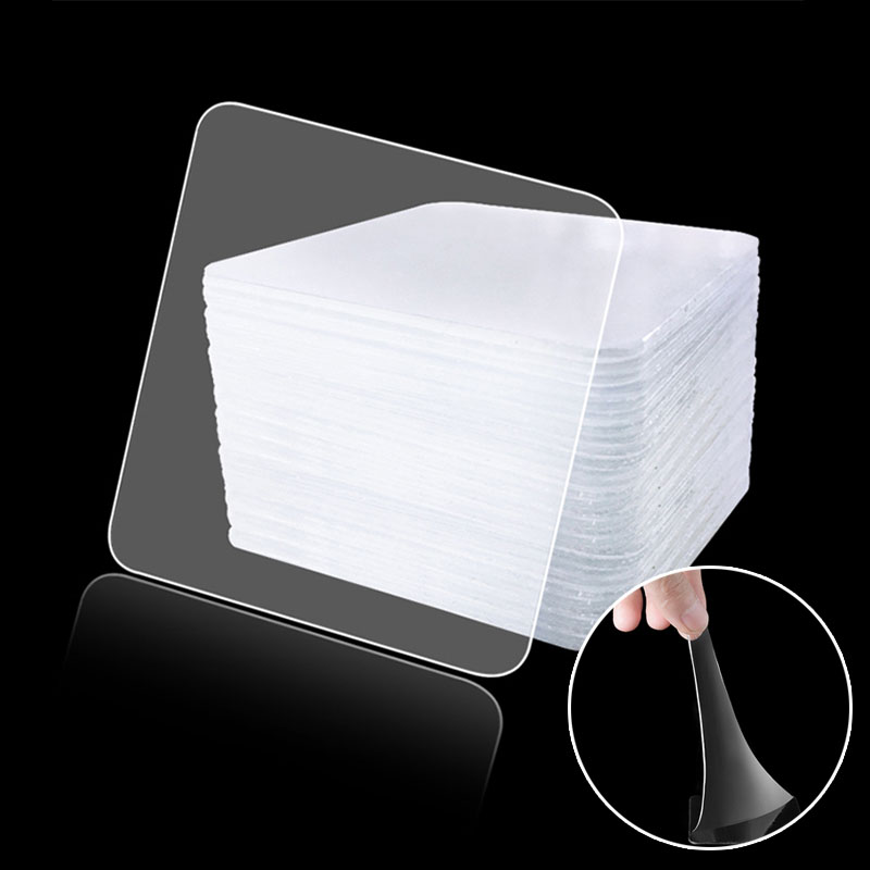 20Pcs Double-Sided Transparent Adhesive Hook Auxiliary Paste Strong Seamless Tile Hook Waterproof Magic Stickers Tile Hook