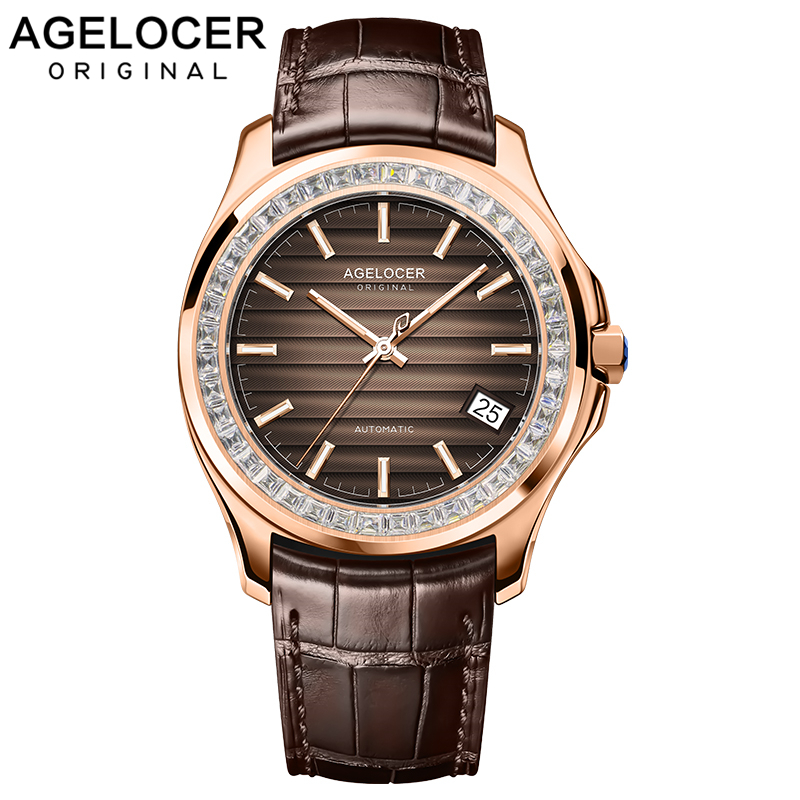 Watch Men Brown Power Reserve 80h Self-wind Mechanical Watch Gold Business Man Watch Mens AGELOCER Watch Swiss Top Brand Luxury
