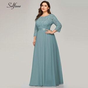 Image 3 - Azul marinho vestido feminino 2020 nova chegada elegante a linha o pescoço três quartos manga rendas vestido de festa robe femme longo chiffon vestido
