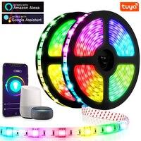 Tira de Luces LED con Control de voz por WIFI, lámpara inteligente Tuya RGB 5050, 12V, Flexible, impermeable, para Festival, Tira de Luz, hogar