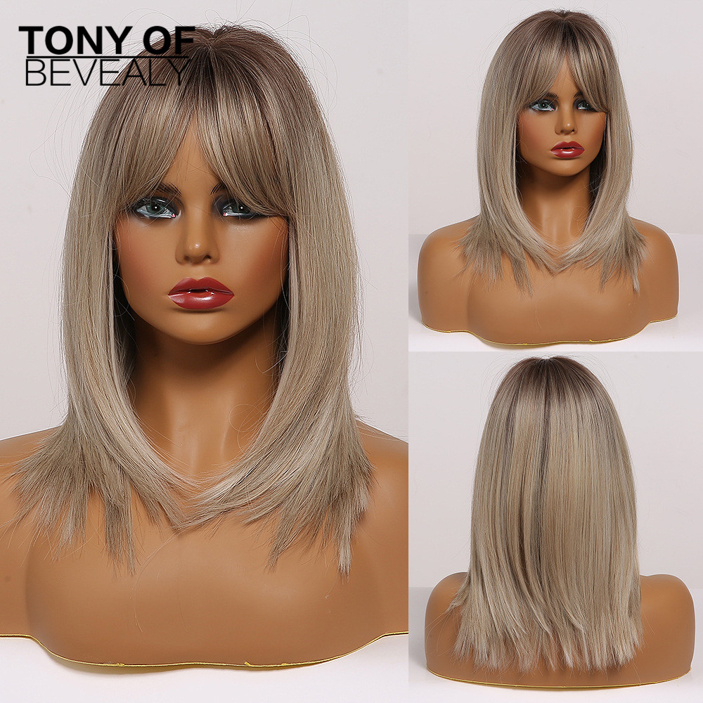 Medium Length Ombre Brown to Blonde Straight Hair Wigs with Bangs Synthetic Wigs for Women Cosplay Heat Resistant Natural Wigs