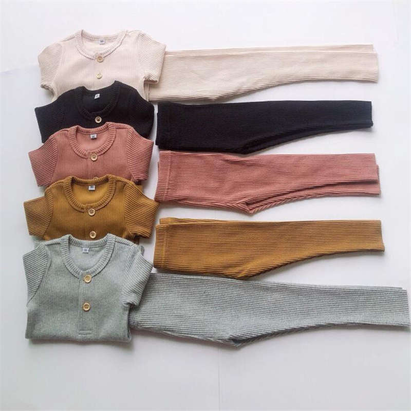 Boys Girls Clothes For Children Ribbed   Set   Fitted With Full Sleeve Kids Autumn Winter Cloth   Pajama     Sets   Pants E0318