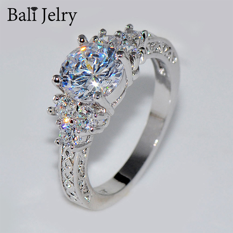 Luxury Silver 925 Ring Round Zircon Gemstone 2020 Fine Jewelry Accessories for Women Wedding Party Gift Ornament Wholesale Rings