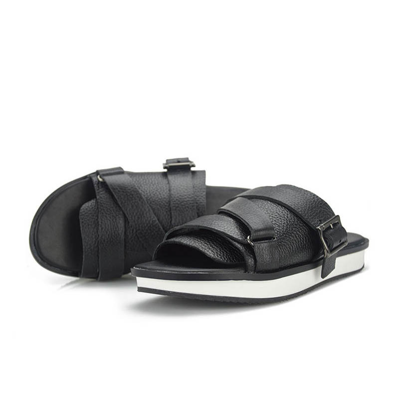 2020 New Fashion Men Sandals Slip On Genuine Leather Cow Casual Shoes Male Black Flip Flop Flat Buckle Slippers Large Size 44 45