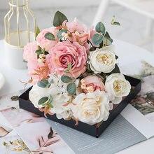 Artificial Flowers Rose Hydrangea Hybrid Bouquet for Home Wedding Christmas Decoration Fall Autumn Decor Silk Fake Flower