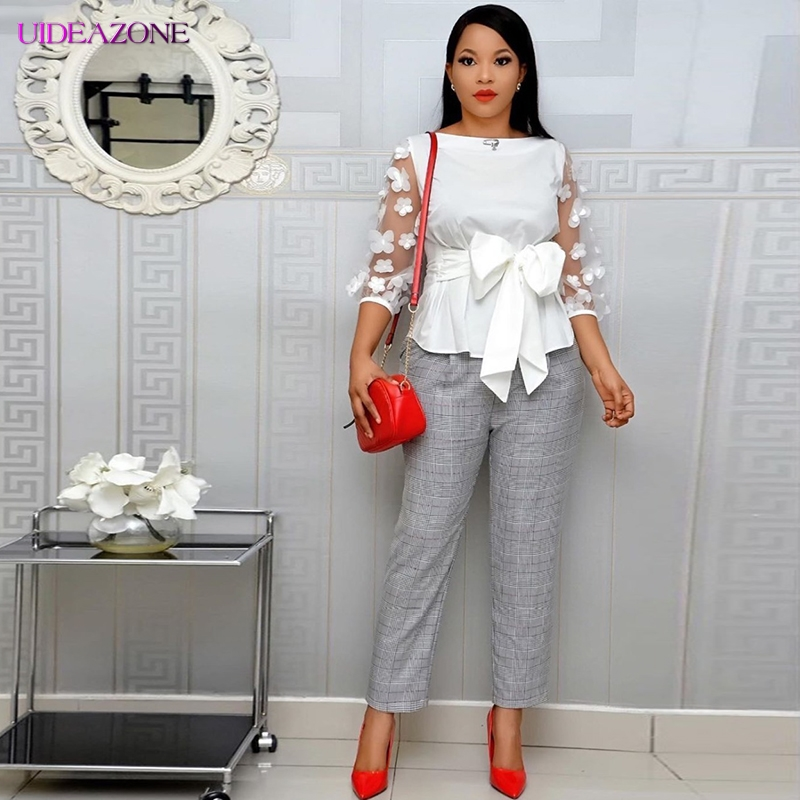 O-neck Women Tops Transprents Long Sleeve Shirts Solid Color With Bandage Bow Floral Elegant Office Lady Outfit Spring Plus Size