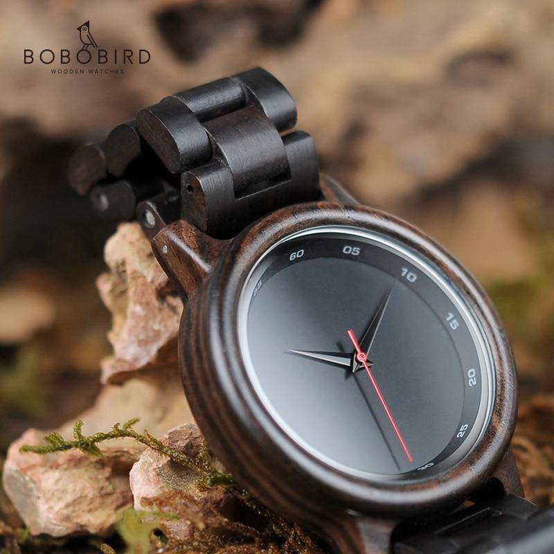 Reloj Mujer BOBO BIRD Wood Watch Men New Black Wooden Strap Quartz Watches Analog Luxury Gifts Male Relogio C-P10 Drop Shipping