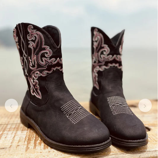 Women Fashion Vintage Mid Calf Boots Flock Shoes Female Autumn Winter Motorcycle Boots Comfortable Women Botas Botas Mujer