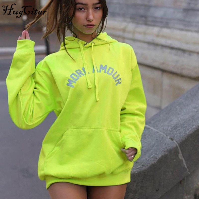 Hugcitar 2019 Cotton Hooded Reflective Leeters Print Sweatshirts Autumn Winter Women Baggy Treetwear Kpop Couple Top